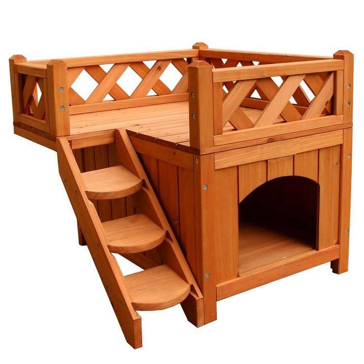 Zimtown, 2-Story, Outdoor Cat House with Balcony, Brown, 20-in