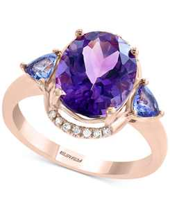 EFFY Multi-Gemstone (3-7/8 ct. t.w.): Amethyst, Tanzanite &  Diamond Accent Ring in 14k Rose Gold