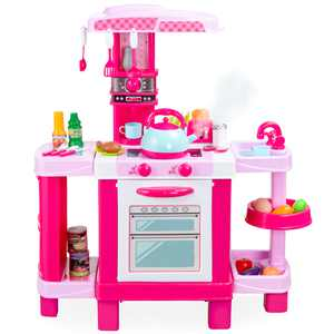 Best Choice Products Pretend Play Kitchen Toy Set for Kids with Water Vapor Teapot, 34 Accessories, Sounds