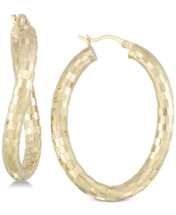 Textured Twist Hoop Earrings in 18k Gold over Sterling Silver