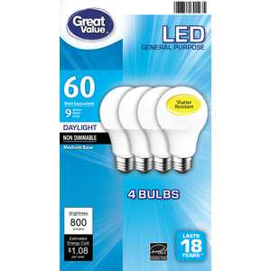 Great Value LED Light Bulb, 9 Watts (60W Equivalent) A19 General Purpose Lamp E26 Medium Base, Non-dimmable, Daylight, 4-Pack