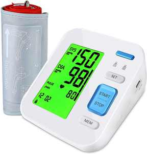 Upper Arm Blood Pressure Monitor, Automatic BP Machine 2 User Memory 3-Color Backlit Digital Display Pulse Rate Monitoring Meter Home Use Indicator w/ Adjustable Cuff, for Adult Pregnancy Parents