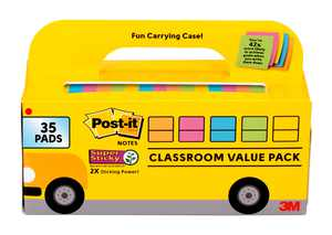 Post-it Super Sticky Notes, Bus Cabinet Pack, Assorted Bright Colors, 35 pads