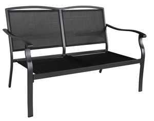 Mainstays Alexandra Square Cushion Steel Outdoor Loveseat - Gray/Black