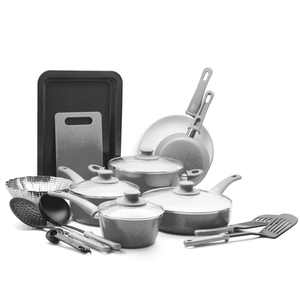 GreenLife 18-Piece Soft Grip Toxin-Free Healthy Ceramic Non-stick Cookware Set, Gray