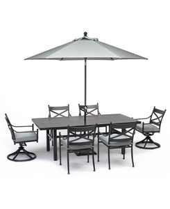 """Montclaire Outdoor Aluminum 7-Pc. Dining Set (84"""" X 42"""" Table, 4 Dining Chairs & 2 Swivel Chairs) With Sunbrella Cushions, Created for Macy's"""