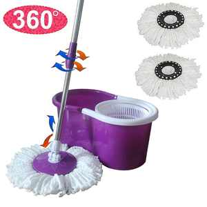 Musetech Spin Mop and Bucket System 360 Self Wringing Spinning Mop with Stackable Bucket and 2 Machine Washable Microfiber Mop Heads, Purple