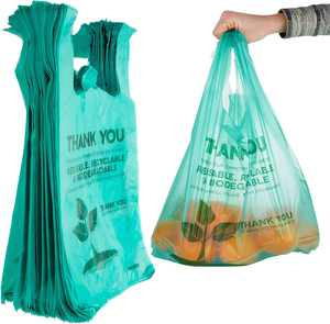 """Stock Your Home Biodegradable 22x12 Plastic Shopping Bags (100 Count) Eco Friendly Green """"Thank You"""" Bags"""