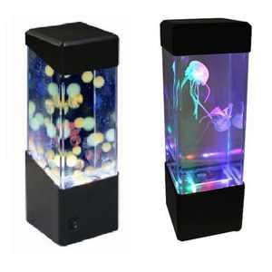 Kojooin LED Mini Fish Tank Water Light Box Water Ball Aquarium Jellyfish Lamp Bedside Cabinet Lighting Nightlight Style:Jellyfish lamp Power:5W