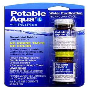Water Purification Tablets with PA Plus - For Camping and Emergency Drinking Water, Made in the USA By Potable Aqua
