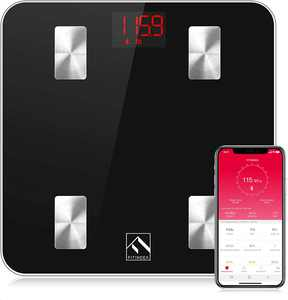FitIndex Body Fat Scale, Smart Scale Digital BMI Weight Wireless Bathroom Scale, Body Composition Monitor with Smartphone App for Body Weight, Body Fat, Muscle Mass, 396 lbs, Black