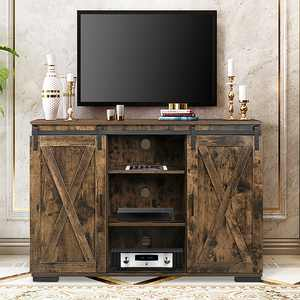 TV Cabinet Stand, Sliding Barn Door TV Stand Modern Farmhouse Storage Shelves Wooden TV Cabinet Media Center Console Cabinet Hardware Kit Double Door for TV up to 55''