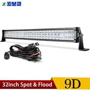 180W LED Light Bar 9D 32 inch Spot Flood ComboFog Light Offroad Driving Truck 4WD,3 years Warranty