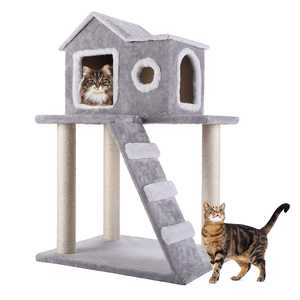 Pet Play Palace 35.4-in Cat Tree & Condo Scratching Post Tower, Gray
