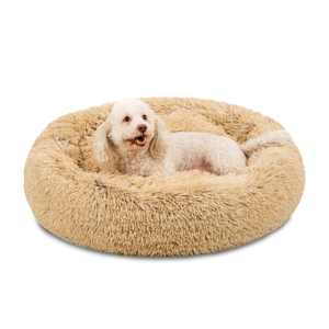 Best Choice Products Self-Warming Plush Shag Fur Donut Calming Dog Bed Cuddler w/ Water-Resistant Lining - Brown