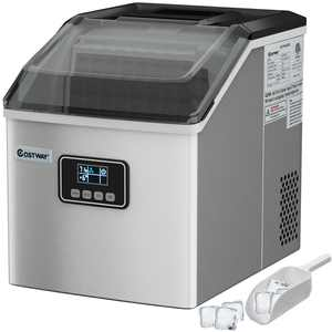 Stainless Steel Ice Maker Machine Countertop 48Lbs/24H Self-Clean with LCD Display