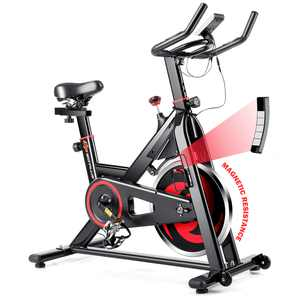 Costway Stationary Exercise Magnetic Cycling Bike 30 Lbs. Flywheel Home Gym Cardio Workout
