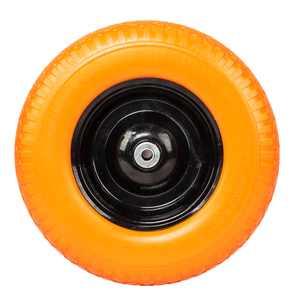 "UBesGoo 16"" Flat Free Tires Wheelbarrow Tool Car PU Solid Foaming Wheel Formed Ribbed Tread Patio Garden Yard Outdoor for Wheel Replacement Yellow"