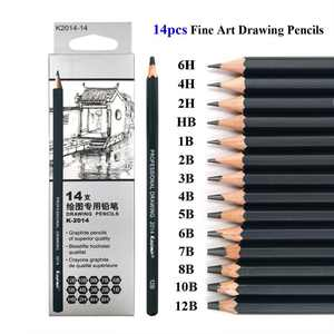 14 Pcs/set HB 2B 6H 4H 2H 3B 4B 5B 6B 10B 12B 1B Pencils Writing Supplies Office School Supplies Sketch and Drawing Pencil Set