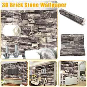 3D Stone Wallpaper Sticker Brick Peel and Stick Wallpaper Background 33x2Ft Wallpaper PVC Waterproof Backsplash Contact Paper for Home Living Room Decorative