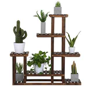 6-Shelf Wooden Flower Stand Plant Display for Indoors and Outdoors