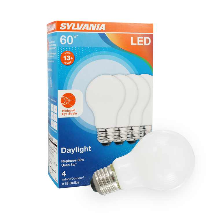 SYLVANIA LED Reduced Eye Strain Light Bulb, A19, 8W, Dimmable, Frosted 5000K, Daylight, 4 Pack