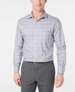 Men's Classic/Regular Fit Non-Iron Supima Cotton Medium Twill Glen Plaid French Cuff Dress Shirt, Created for Macy's