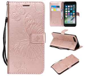iPhone 7 Plus/ 8 Plus Wallet case, Allytech Pretty Retro Embossed Butterfly Flower Design PU Leather Book Style Wallet Flip Case Cover for Apple iPhone 7 Plus and iPhone 8 Plus, Rosegold