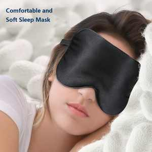 Silk Sleep Mask, Lightweight and Comfortable, Super Soft, Adjustable Contoured Eye Mask for Sleeping, Shift Work, Naps, Best Night Blindfold Eyeshade for Men and Women, Black