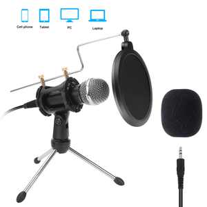 PC Microphone Kit 100Hz to 16000Hz with Tripod Stand PC Condenser Podcast Streaming Cardioid Mic Plug & Play for Computer, YouTube, Gaming Recording, 3.5mm Jack Recording Condenser Microphone