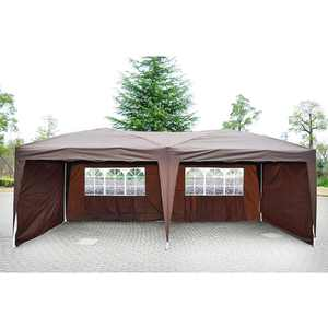 UBesGoo Easy Pop Up Canopy Party Tent, Coffee Brown with 4 Removable Sidewalls 10-Feet x 20-Feet