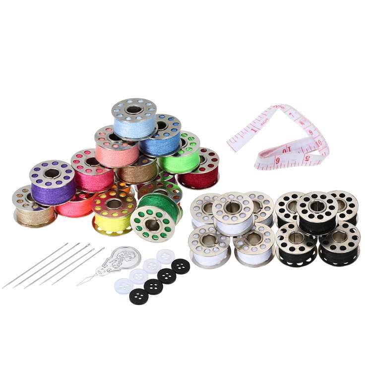 Thread Bobbins Sewing Accessories Supplies Kit with Storage Case 15pcs Mixed Colors Bobbins + 5pcs White Bobbins + 5pcs Black Bobbins for Brother Janome Kenmore Singer