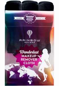($32 Value) RAINBOW ROVERS Set of 3 Makeup Remover Cloths | Makeup Towel | Suitable for All Skin Types | Reusable & Ultra fine Makeup Wipes | Removes Makeup with just Water | Chic Black