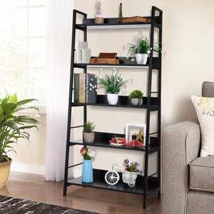5 Tier Bookcase, 5-Shelf Ladder Bookshelf, Metal frame and Wood Shelves Storage Furniture , Black
