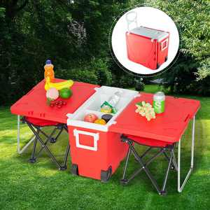Zimtown Rolling Cooler W/ Table 2 Foldable Fishing Chair for Camping Red