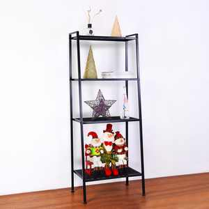 Ktaxon 4 Tier Metal Leaning Ladder Shelf Bookcase Bookshelf Storage Shelves Unit Black