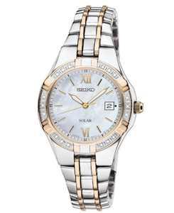 Watch, Women's Solar Diamond Accent Two Tone Stainless Steel Bracelet 27mm SUT068