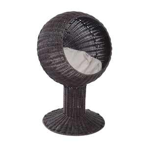 """PawHut 28"""" Hooded Rattan Wicker Round Elevated Condo Cat Bed with an Elegant Design & Included Cushion - Coffee"""
