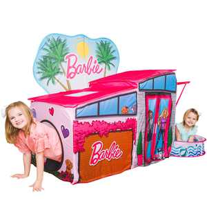 Barbie Dreamhouse Pop Up Tent, Over 7 Feet Long, Includes Ball Pit and Balls