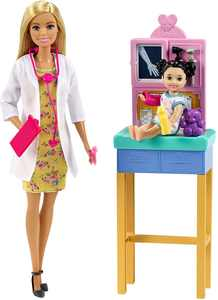 Barbie Pediatrician Playset, Blonde Doll (12-in/30.40-cm), Ages 3 Years Old & Up
