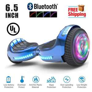 """Flash Wheel  Certified Hoverboard 6.5"""" Bluetooth Speaker with LED Light Self Balancing Wheel Electric Scooter - Chrome Blue"""