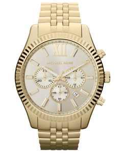 Men's Chronograph Lexington Gold-Tone Stainless Steel Bracelet Watch 45mm MK8281