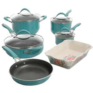 The Pioneer Woman Frontier Speckle Aluminum 10-Piece Cookware Set, Turquoise