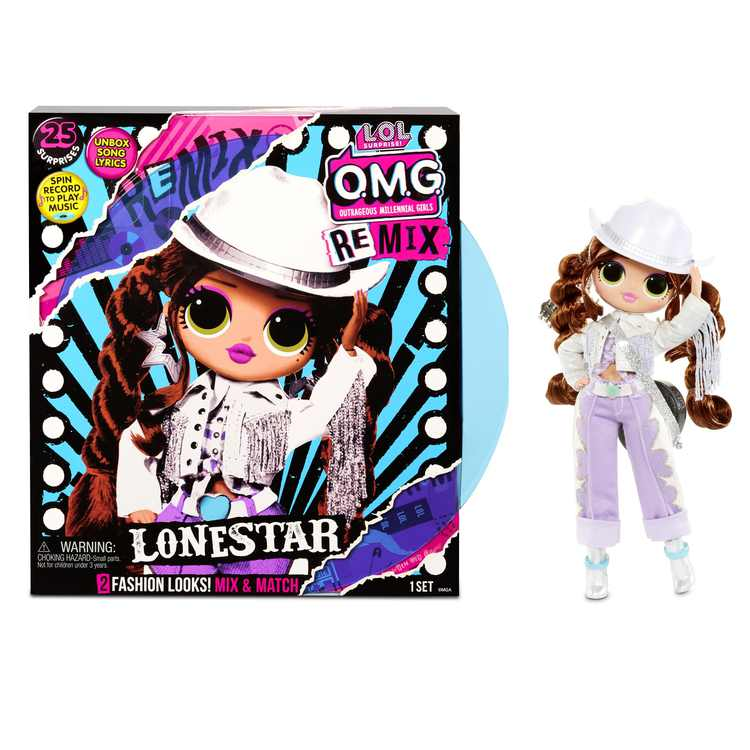 LOL Surprise OMG Remix Lonestar Fashion Doll with 25 Surprises Including Extra Outfit, Shoes, Hair Brush, Doll Stand, Lyric Magazine, and Music Record Player - Toys For Girls Ages 4 5 6+