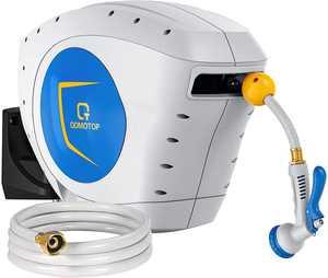 QOMOTOP Retractable Garden Hose Reel ,1/2x100+6.7FT Auto Rewind,8 Pattern Hose Nozzle water hose reel