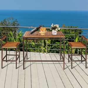 Costway 3 PCS Patio Rattan Wicker Bar wood Table Chair Outdoor