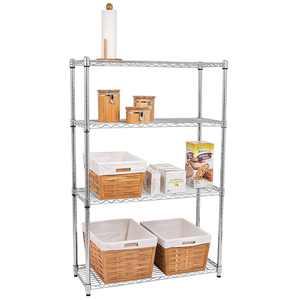4-Tier Wire Shelving Metal Wire Shelf Storage Rack Durable Organizer Unit Perfect for Kitchen Garage Pantry Organization in Sliver,35.43'Wx13.78 Dx47.24 H
