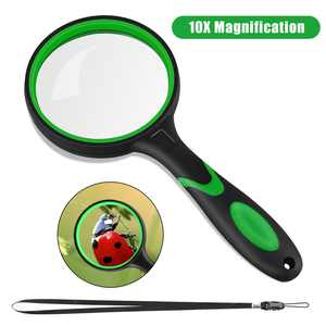EEEkit 10X Magnifying Glass for Reading and Hobbies,75mm Non-Scratch Glass Lens Handheld Magnifier, Thickened Rubbery Frame Magnifying Glass for Seniors & Kids Reading,Classroom Science