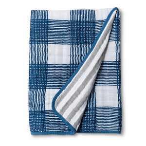 Muslin Quilt Blanket Blue Plaid - Cloud Island™ True White