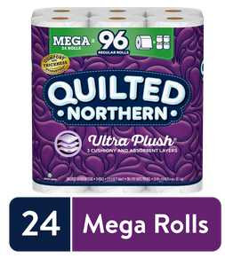 Quilted Northern Ultra Plush Toilet Paper, 24 Mega Rolls